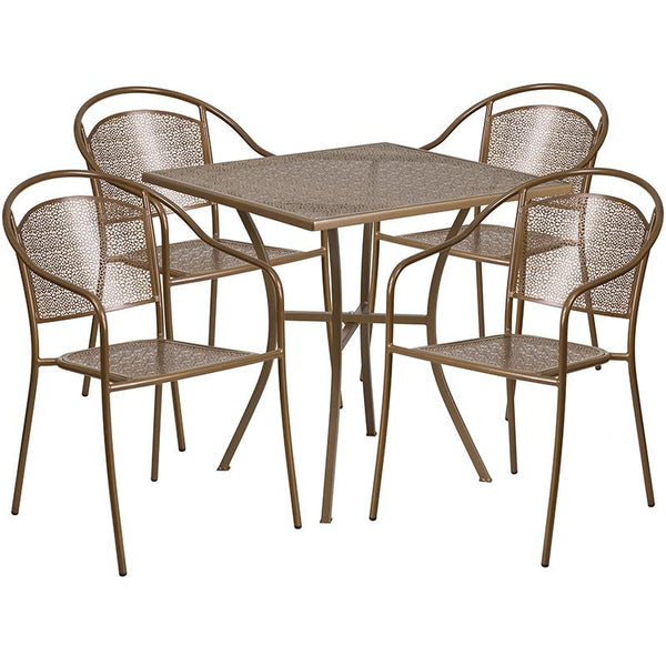 Flash Furniture 28'' Square Gold Indoor-Outdoor Steel Patio Table Set with 4 Round Back Chairs - CO-28SQ-03CHR4-GD-GG