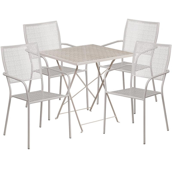 Flash Furniture 28'' Square Light Gray Indoor-Outdoor Steel Folding Patio Table Set with 4 Square Back Chairs - CO-28SQF-02CHR4-SIL-GG