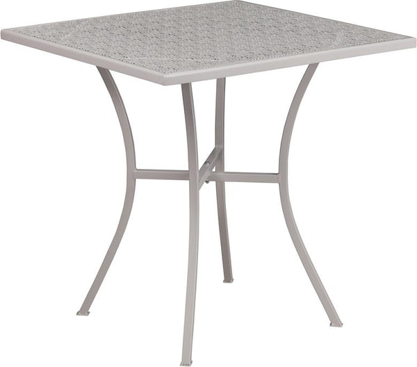 Flash Furniture 28'' Square Light Gray Indoor-Outdoor Steel Patio Table - CO-5-SIL-GG