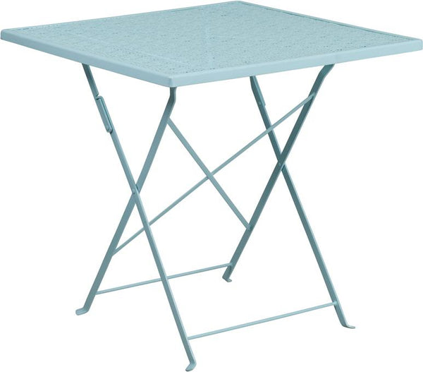 Flash Furniture 28'' Square Sky Blue Indoor-Outdoor Steel Folding Patio Table - CO-1-SKY-GG