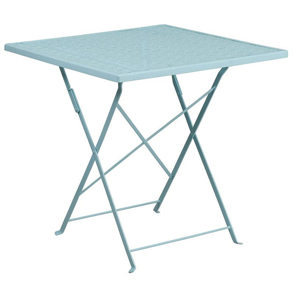 Flash Furniture 28'' Square Sky Blue Indoor-Outdoor Steel Folding Patio Table Set with 2 Round Back Chairs - CO-28SQF-03CHR2-SKY-GG
