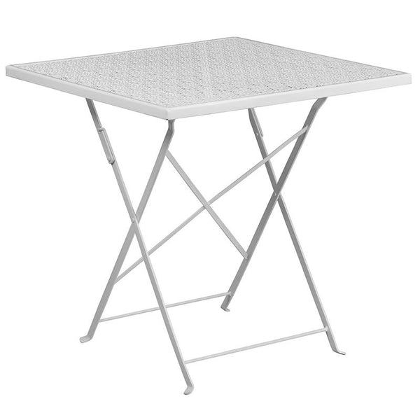Flash Furniture 28'' Square White Indoor-Outdoor Steel Folding Patio Table Set with 2 Round Back Chairs - CO-28SQF-03CHR2-WH-GG