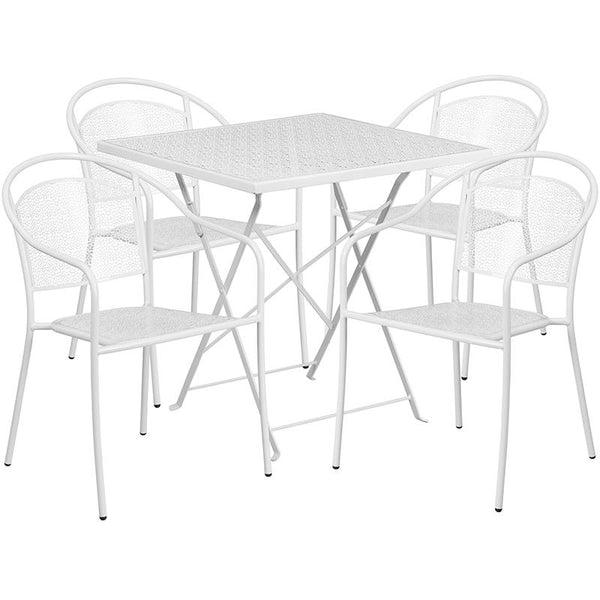 Flash Furniture 28'' Square White Indoor-Outdoor Steel Folding Patio Table Set with 4 Round Back Chairs - CO-28SQF-03CHR4-WH-GG