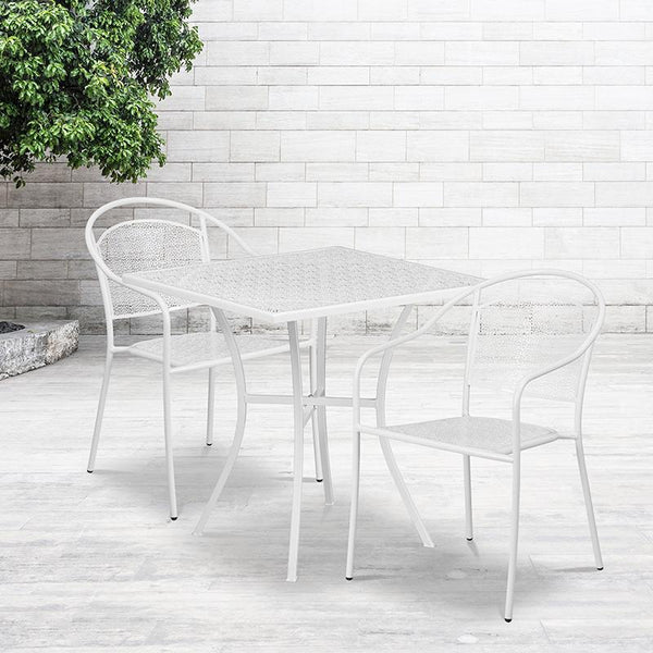 Flash Furniture 28'' Square White Indoor-Outdoor Steel Patio Table Set with 2 Round Back Chairs - CO-28SQ-03CHR2-WH-GG