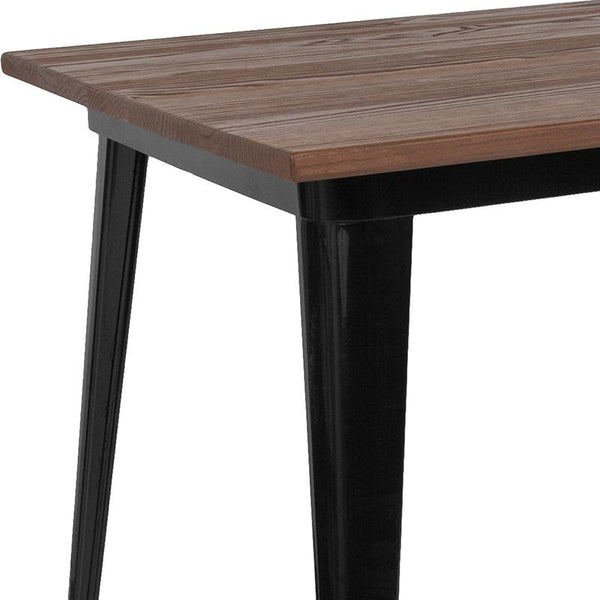 "Flash Furniture 30.25"" x 60"" Rectangular Black Metal Indoor Table with Walnut Rustic Wood Top - CH-61010-29M1-BK-GG"