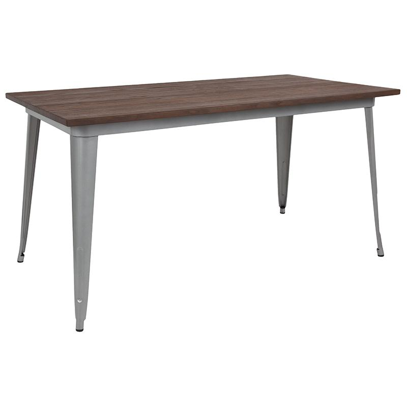 "Flash Furniture 30.25"" x 60"" Rectangular Silver Metal Indoor Table with Walnut Rustic Wood Top - CH-61010-29M1-SIL-GG"