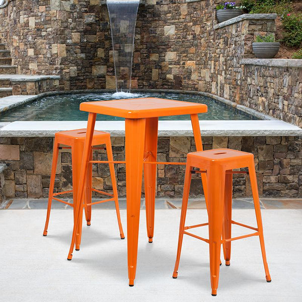 Flash Furniture 30'' High Backless Orange Metal Indoor-Outdoor Barstool with Square Seat - CH-31320-30-OR-GG