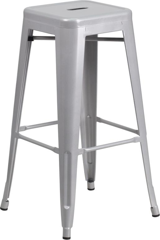 Flash Furniture 30'' High Backless Silver Metal Indoor-Outdoor Barstool with Square Seat - CH-31320-30-SIL-GG