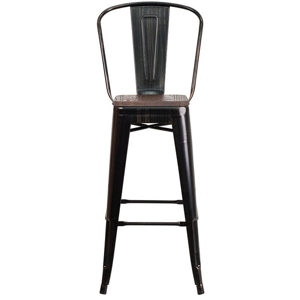 "Flash Furniture 30"" High Black-Antique Gold Metal Barstool with Back and Wood Seat - CH-31320-30GB-BQ-WD-GG"