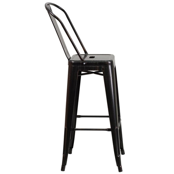 Flash Furniture 30'' High Black-Antique Gold Metal Indoor-Outdoor Barstool with Back - CH-31320-30GB-BQ-GG