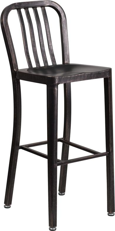 Flash Furniture 30'' High Black-Antique Gold Metal Indoor-Outdoor Barstool with Vertical Slat Back - CH-61200-30-BQ-GG