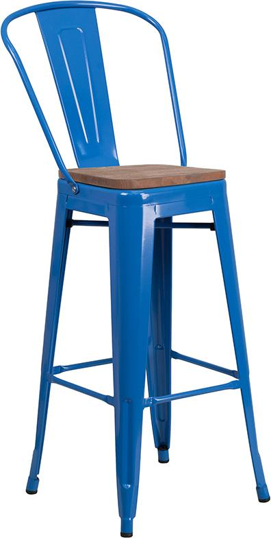 "Flash Furniture 30"" High Blue Metal Barstool with Back and Wood Seat - CH-31320-30GB-BL-WD-GG"