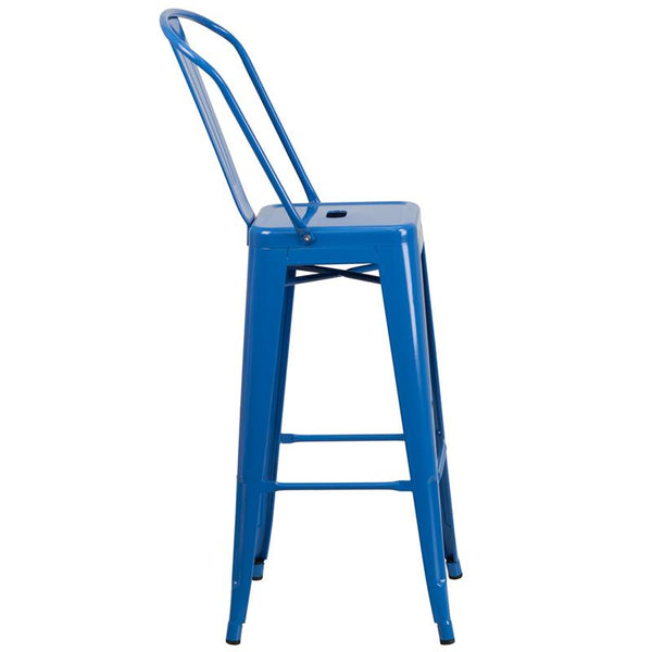 Flash Furniture 30'' High Blue Metal Indoor-Outdoor Barstool with Back - CH-31320-30GB-BL-GG