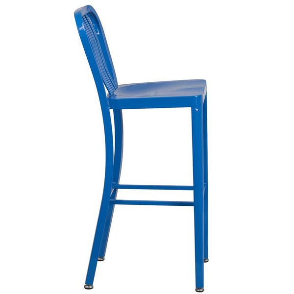 Flash Furniture 30'' High Blue Metal Indoor-Outdoor Barstool with Vertical Slat Back - CH-61200-30-BL-GG