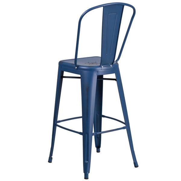 Flash Furniture 30'' High Distressed Antique Blue Metal Indoor-Outdoor Barstool with Back - ET-3534-30-AB-GG