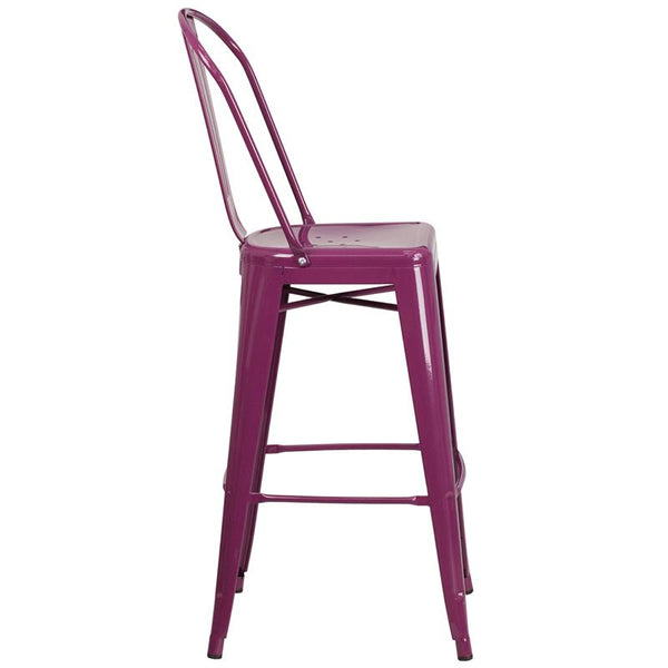 Flash Furniture 30'' High Purple Metal Indoor-Outdoor Barstool with Back - ET-3534-30-PUR-GG