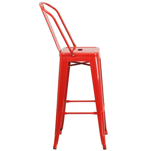 Flash Furniture 30'' High Red Metal Indoor-Outdoor Barstool with Back - CH-31320-30GB-RED-GG