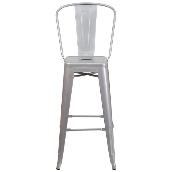Flash Furniture 30'' High Silver Metal Indoor-Outdoor Barstool with Back - CH-31320-30GB-SIL-GG