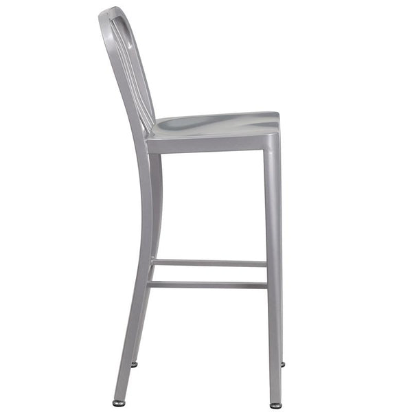 Flash Furniture 30'' High Silver Metal Indoor-Outdoor Barstool with Vertical Slat Back - CH-61200-30-SIL-GG
