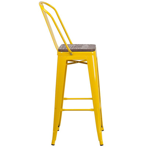 "Flash Furniture 30"" High Yellow Metal Barstool with Back and Wood Seat - CH-31320-30GB-YL-WD-GG"