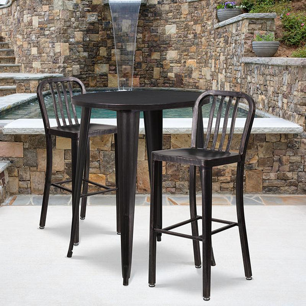 Flash Furniture 30'' Round Black-Antique Gold Metal Indoor-Outdoor Bar Table Set with 2 Vertical Slat Back Stools - CH-51090BH-2-30VRT-BQ-GG