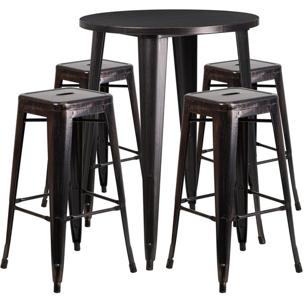 Flash Furniture 30'' Round Black-Antique Gold Metal Indoor-Outdoor Bar Table Set with 4 Square Seat Backless Stools - CH-51090BH-4-30SQST-BQ-GG