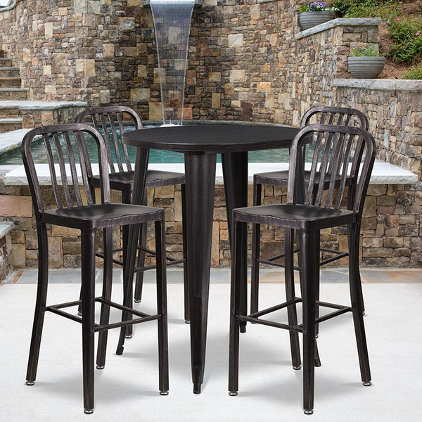 Flash Furniture 30'' Round Black-Antique Gold Metal Indoor-Outdoor Bar Table Set with 4 Vertical Slat Back Stools - CH-51090BH-4-30VRT-BQ-GG
