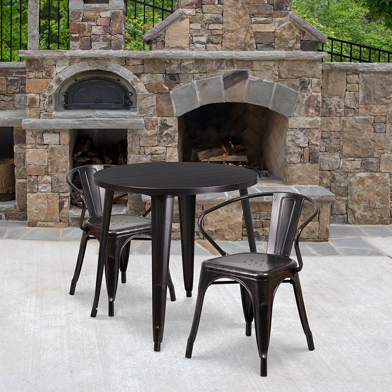 Flash Furniture 30'' Round Black-Antique Gold Metal Indoor-Outdoor Table Set with 2 Arm Chairs - CH-51090TH-2-18ARM-BQ-GG