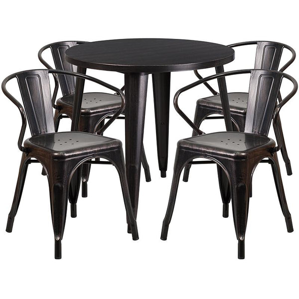 Flash Furniture 30'' Round Black-Antique Gold Metal Indoor-Outdoor Table Set with 4 Arm Chairs - CH-51090TH-4-18ARM-BQ-GG