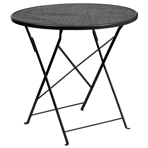 Flash Furniture 30'' Round Black Indoor-Outdoor Steel Folding Patio Table Set with 2 Square Back Chairs - CO-30RDF-02CHR2-BK-GG