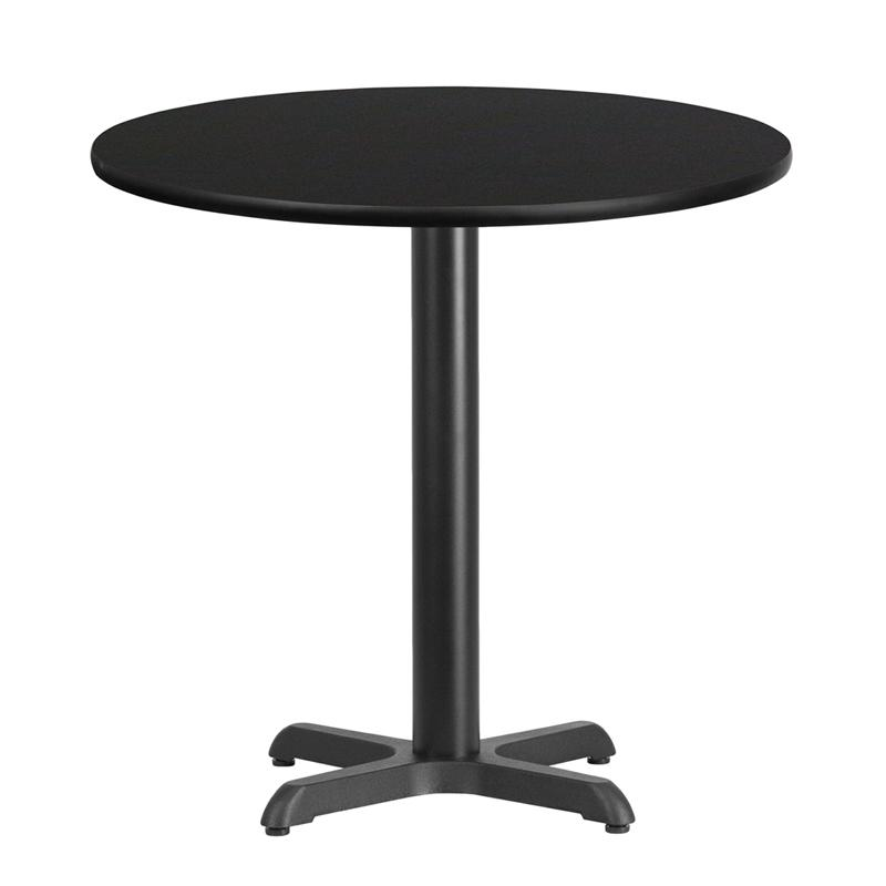 Flash Furniture 30'' Round Black Laminate Table Top with 22'' x 22'' Table Height Base - XU-RD-30-BLKTB-T2222-GG