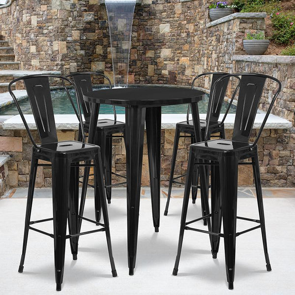Flash Furniture 30'' Round Black Metal Indoor-Outdoor Bar Table Set with 4 Cafe Stools - CH-51090BH-4-30CAFE-BK-GG