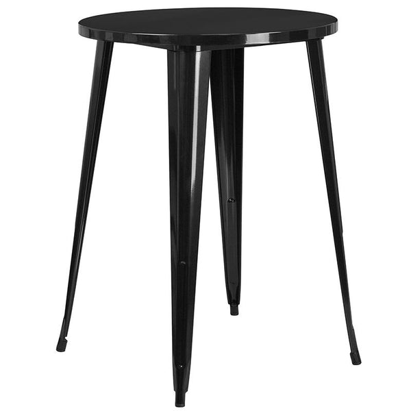Flash Furniture 30'' Round Black Metal Indoor-Outdoor Bar Table Set with 4 Vertical Slat Back Stools - CH-51090BH-4-30VRT-BK-GG