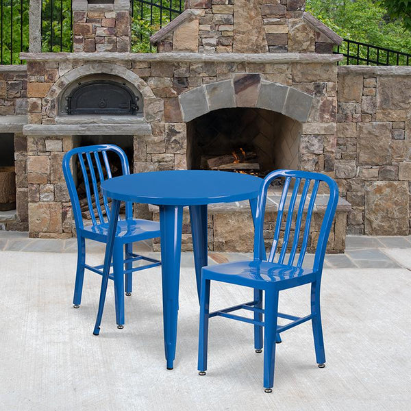Flash Furniture 30'' Round Blue Metal Indoor-Outdoor Table Set with 2 Vertical Slat Back Chairs - CH-51090TH-2-18VRT-BL-GG