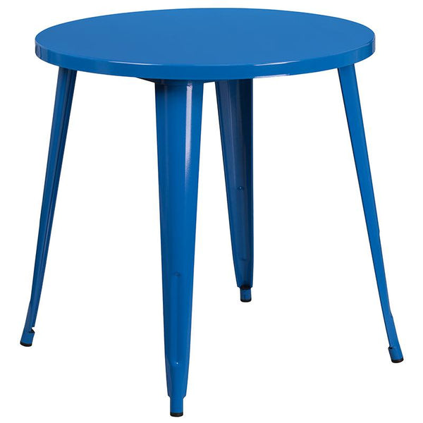 Flash Furniture 30'' Round Blue Metal Indoor-Outdoor Table Set with 4 Vertical Slat Back Chairs - CH-51090TH-4-18VRT-BL-GG