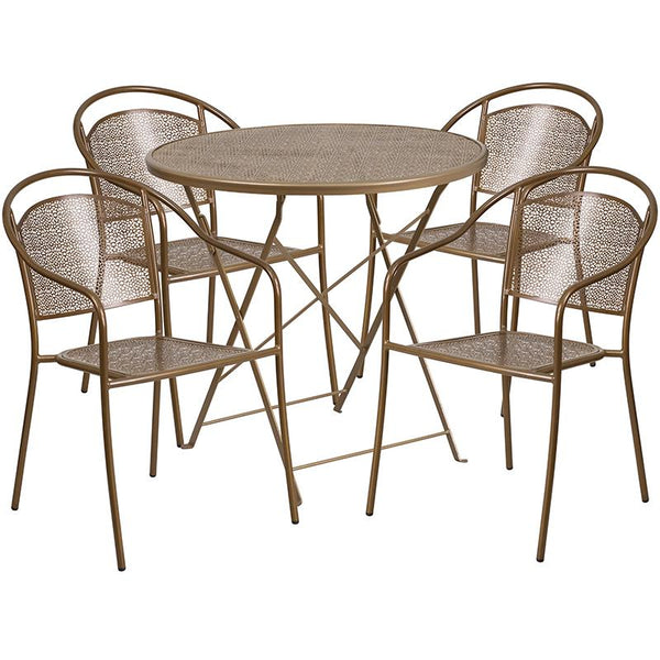 Flash Furniture 30'' Round Gold Indoor-Outdoor Steel Folding Patio Table Set with 4 Round Back Chairs - CO-30RDF-03CHR4-GD-GG