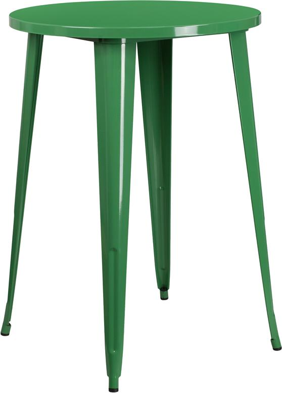 Flash Furniture 30'' Round Green Metal Indoor-Outdoor Bar Height Table - CH-51090-40-GN-GG