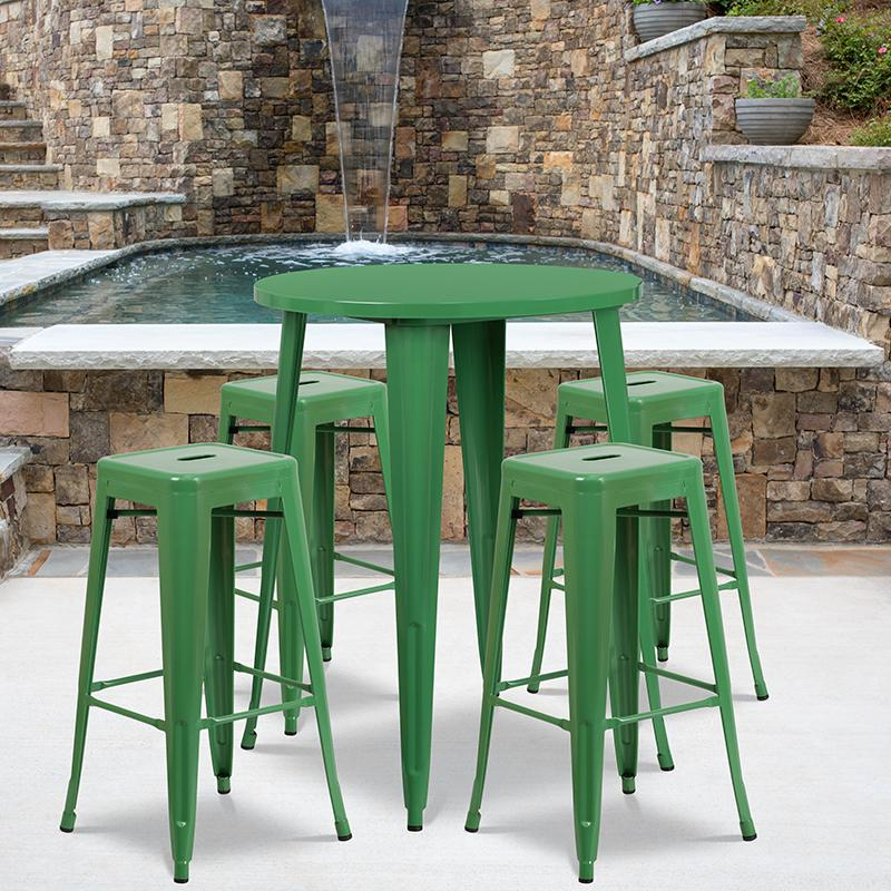 Flash Furniture 30'' Round Green Metal Indoor-Outdoor Bar Table Set with 4 Square Seat Backless Stools - CH-51090BH-4-30SQST-GN-GG