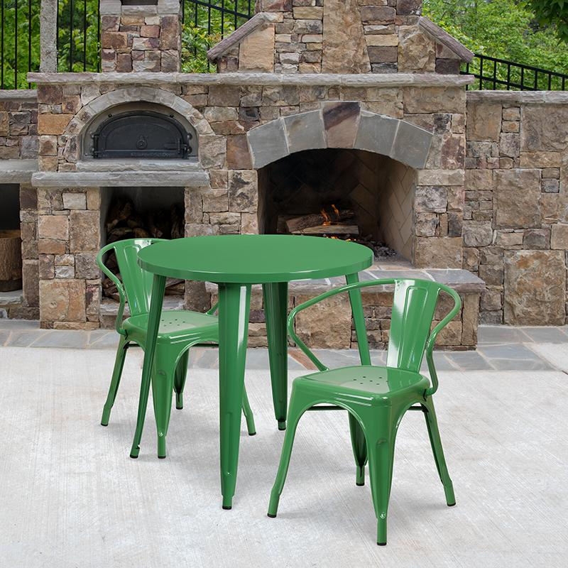 Flash Furniture 30'' Round Green Metal Indoor-Outdoor Table Set with 2 Arm Chairs - CH-51090TH-2-18ARM-GN-GG