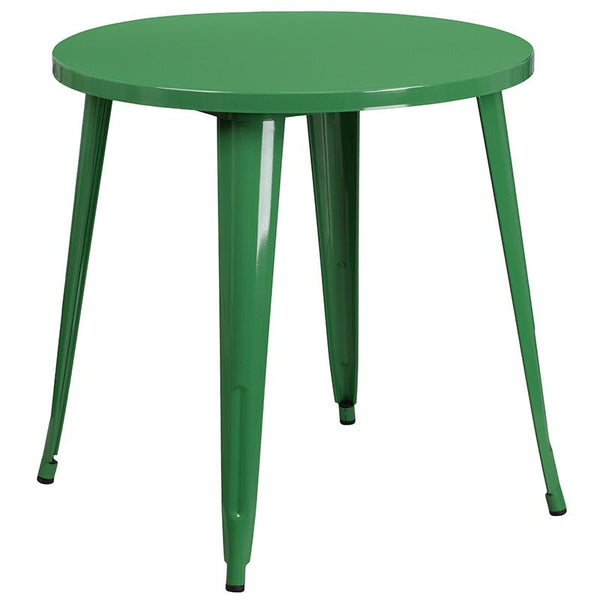 Flash Furniture 30'' Round Green Metal Indoor-Outdoor Table Set with 4 Cafe Chairs - CH-51090TH-4-18CAFE-GN-GG