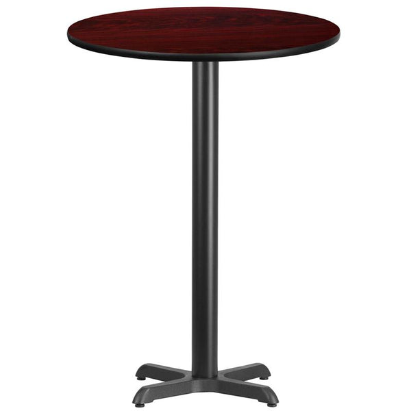 Flash Furniture 30'' Round Mahogany Laminate Table Top with 22'' x 22'' Bar Height Table Base - XU-RD-30-MAHTB-T2222B-GG