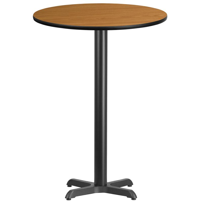 Flash Furniture 30'' Round Natural Laminate Table Top with 22'' x 22'' Bar Height Table Base - XU-RD-30-NATTB-T2222B-GG