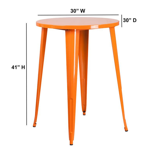 Flash Furniture 30'' Round Orange Metal Indoor-Outdoor Bar Height Table - CH-51090-40-OR-GG