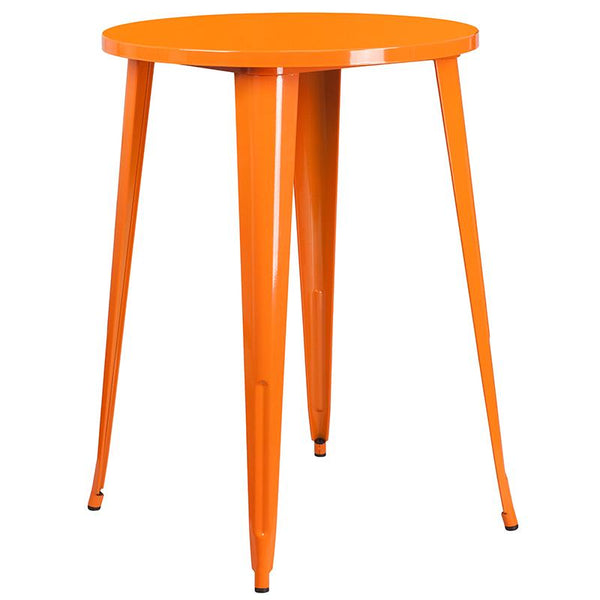 Flash Furniture 30'' Round Orange Metal Indoor-Outdoor Bar Table Set with 2 Cafe Stools - CH-51090BH-2-30CAFE-OR-GG