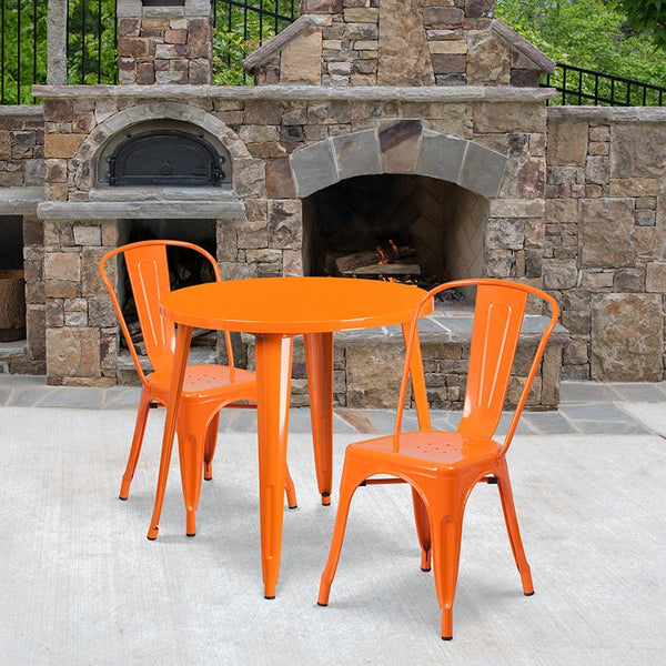 Flash Furniture 30'' Round Orange Metal Indoor-Outdoor Table Set with 2 Cafe Chairs - CH-51090TH-2-18CAFE-OR-GG