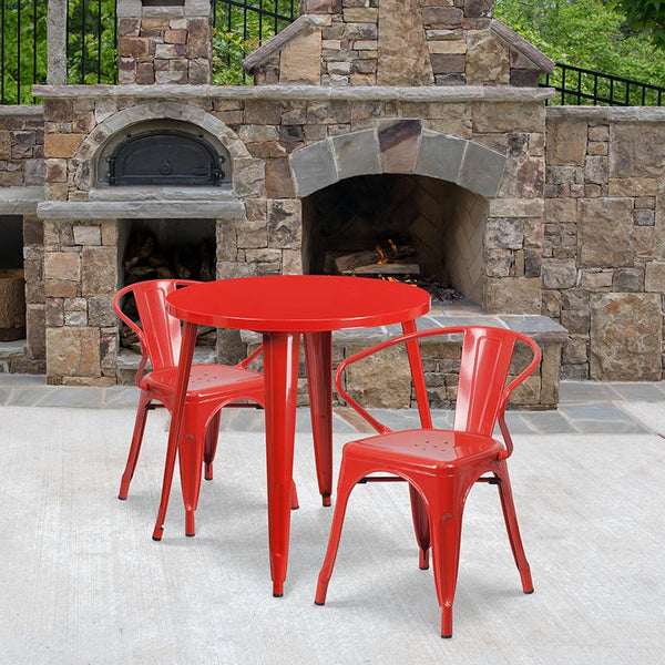 Flash Furniture 30'' Round Red Metal Indoor-Outdoor Table Set with 2 Arm Chairs - CH-51090TH-2-18ARM-RED-GG