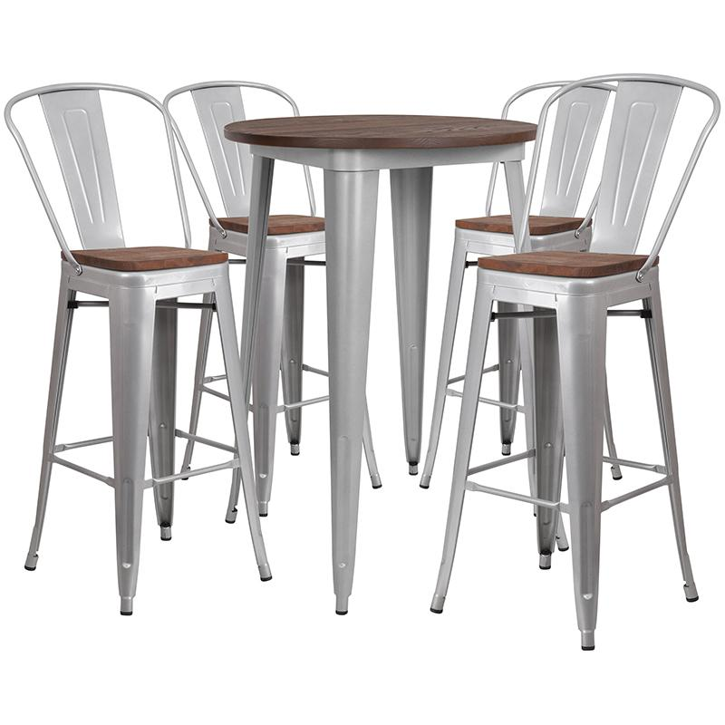 "Flash Furniture 30"" Round Silver Metal Bar Table Set with Wood Top and 4 Stools - CH-WD-TBCH-11-GG"