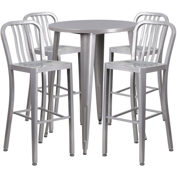Flash Furniture 30'' Round Silver Metal Indoor-Outdoor Bar Table Set with 4 Vertical Slat Back Stools - CH-51090BH-4-30VRT-SIL-GG