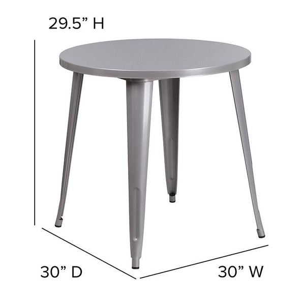 Flash Furniture 30'' Round Silver Metal Indoor-Outdoor Table - CH-51090-29-SIL-GG