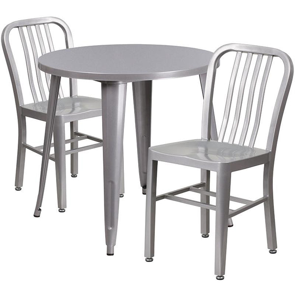 Flash Furniture 30'' Round Silver Metal Indoor-Outdoor Table Set with 2 Vertical Slat Back Chairs - CH-51090TH-2-18VRT-SIL-GG